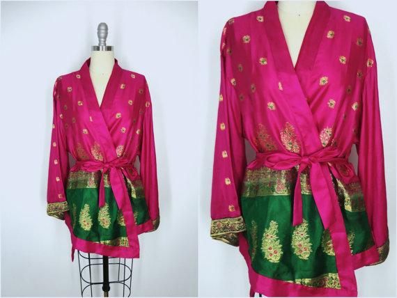 Mariage - Kimono / Silk Kimono Robe / Kimono Cardigan / Kimono Jacket / Wedding lingerie / Vintage Sari / Art Deco / Downton Abbey / Magenta Pink