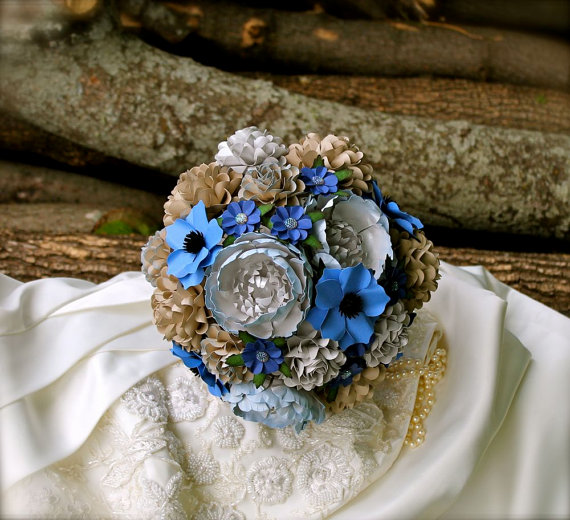 Wedding - Periwinkle Blue and Silver - Handmade Paper Flower Wedding Bouquet - Custom Colors