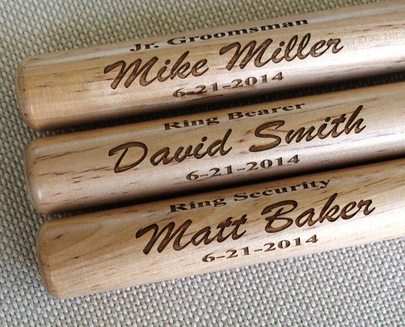 personalized mini baseball bat - ring bearer gift  groomsman gift  baby gift