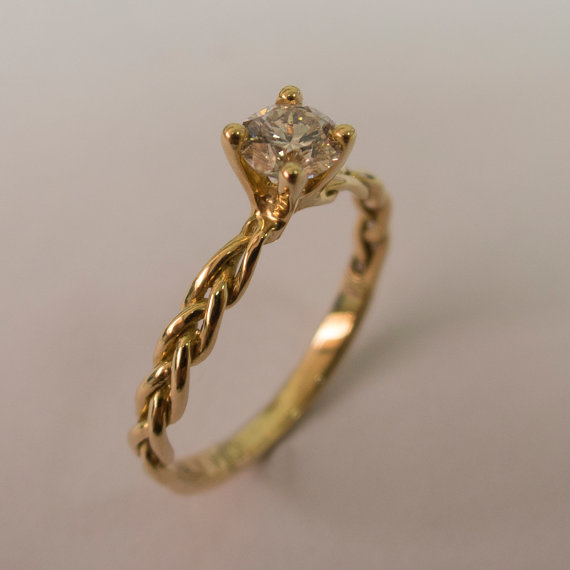 Mariage - Braided Engagement Ring - 14K Gold and Diamond engagement ring, 0.5ct diamond ring, engagement ring, celtic ring, stackable ring