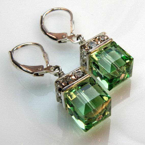 Hochzeit - Peridot Crystal Earrings, Green, Silver, Drop, Dangle, Wedding, Bridesmaid, August Birthday, Spring Fashion  Handmade Jewelry