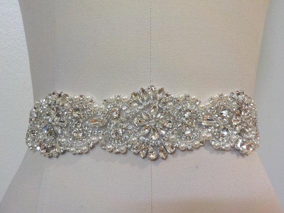 Mariage - Wedding Belt, Bridal Belt, Sash Belt, Crystal Rhinestone & Off White Pearls  - Style B200099EXL