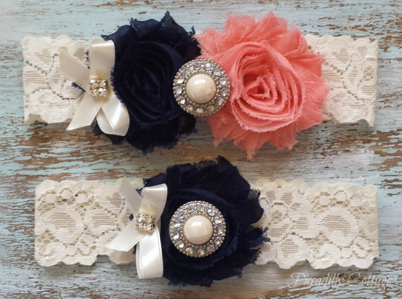 Свадьба - Navy Blue and CORAL Wedding Garter, CUSTOMIZE IT, Bridal Garter Set, Shiny Ivory Pearl Center, Toss Garter Included