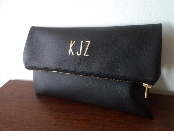 Wedding - Black clutch with gold monogram / Personalized clutch bag / Wedding clutch purse / Evening clutch bag