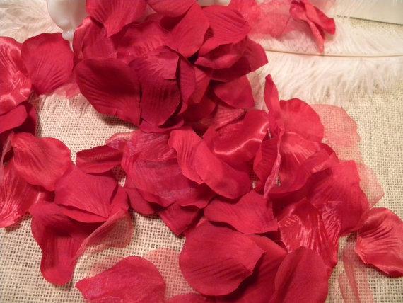 Wedding - 100 Premium Rose Petals - Red Hot - Artificial Rose Petals-Silk -Wedding Decorations-Large 2 inch -Romantic-Bridal Shower Decor