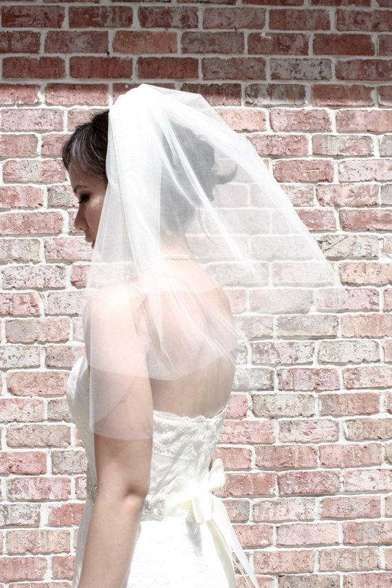 Mariage - Arianna** Three-Tier Shoulder Length Veil, Wedding Veil, Bridal Veil, Veils, Ivory, White, Tulle, Tulle Veil