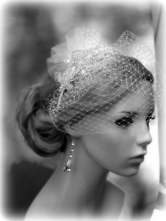 Mariage - Wedding birdcage Veil, Bridal accessories, Crystal bridal Headpiece, Bridal Veil,  Wedding hair accessories