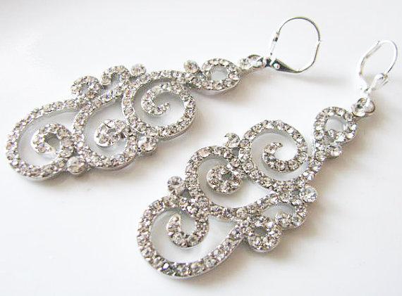 Mariage - Crystal Teardrop Earrings Wedding Earrings Bridal Earrings Crystal Jewelry Rhinestone Jewelry Wedding Jewellery