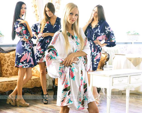 Bridesmaids gift baby shower Bridal shower favors Pretty Polkas Kimono Crossover patterned Robe Wrap Code : J-1 getting ready robes