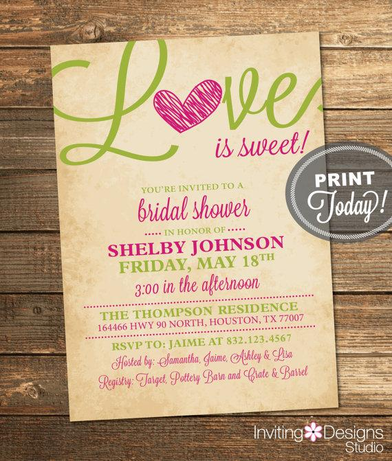 Hochzeit - Bridal Shower Invitation, Love, Pink, Magenta, Lime Green, Green, Rustic, Sweet, Candy, Printable File (Custom Order, INSTANT DOWNLOAD)