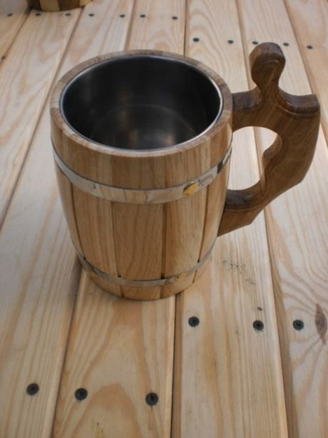 Hochzeit - Wooden Beer mug 0,8 l (27oz) , natural wood, stainless steel inside,groomsmen gift