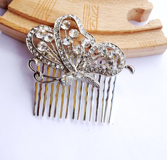 Wedding - butterfly hair comb, crystal hair comb, wedding rhinestone hair comb, veil comb - CB0010
