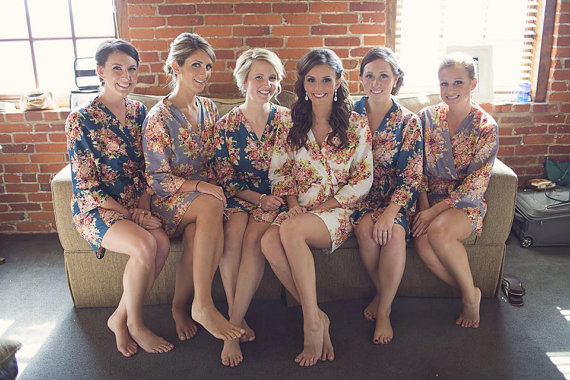 bridesmaids robes sets kimono crossover robes spa wrap perfect bridesmaids gift getting ready robes bridal shower party favors