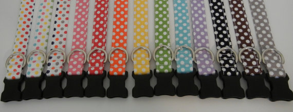 زفاف - Polka Dot Dog Collar Choose Your Color Wedding Accessories Made to Order