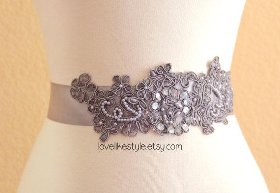 Mariage - Gray  Sequined and Pearl Beading Lace Sash, Bridal Sash, Bridal headband, Bridesmaid Sash / SH-40