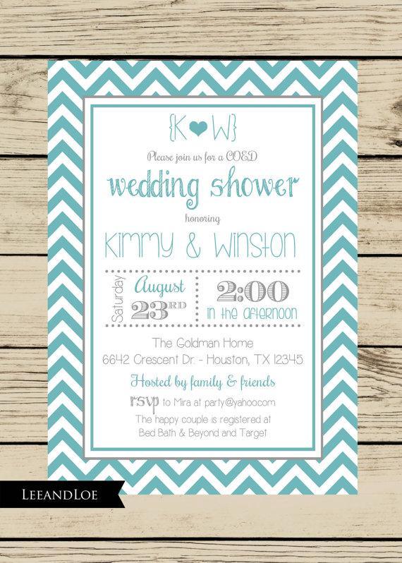 Wedding - Chevron Wedding Shower Invitation-Couples, Coed, Bridal, Rehearsal, Turquoise, Gray