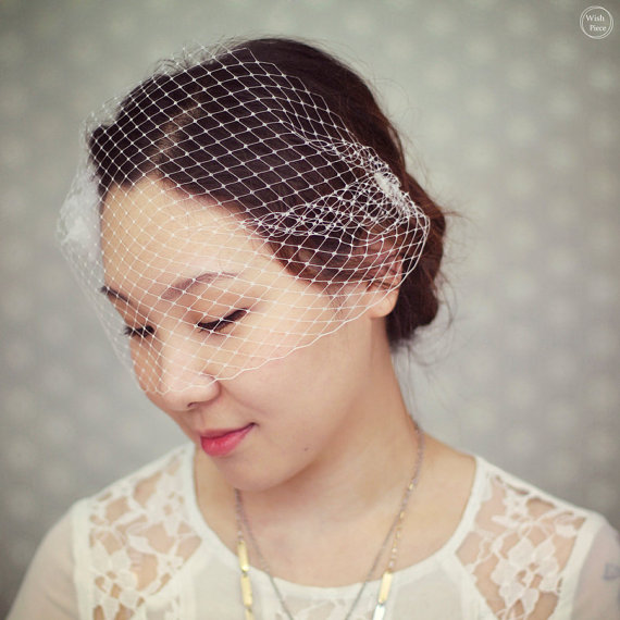 Mariage - Wedding Birdcage Veil - Bridal Hair Accessories - Wedding Blusher Veil - Small Wedding Veil - BV1323