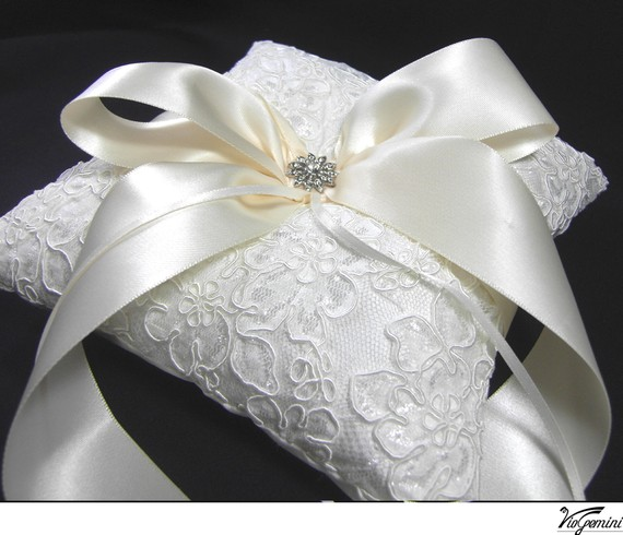 Design Your Own Wedding Ring Pillow Alencon Lace Ivory Ring