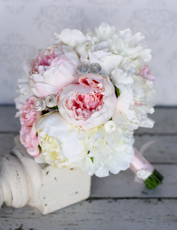 Mariage - Silk Bride Bouquet Peony