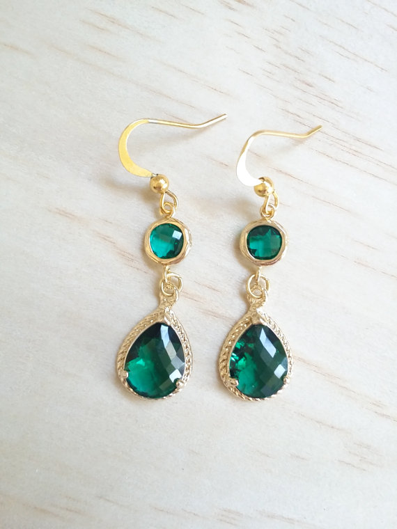 Emerald Earrings Gold Green Bridesmaid Gift Wedding Dangle May Birthstone Drop Jewelry