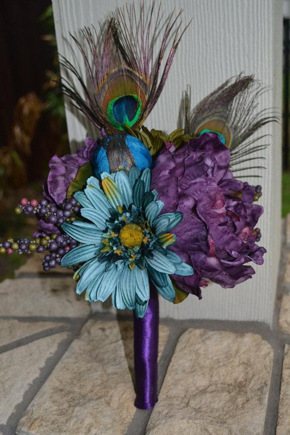 Свадьба - Peacock Bridesmaid Bouquet, Silk Wedding Flowers, Peacock Wedding, Rustic Wedding, Vintage Wedding, Bridal Bouquet, Peacock Bouquet, Bride