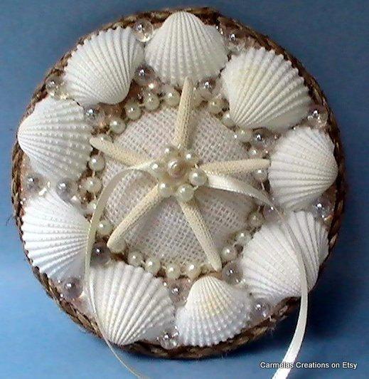 Beach Wedding Ring Holder With White Shellsring Bearer Alternate To
