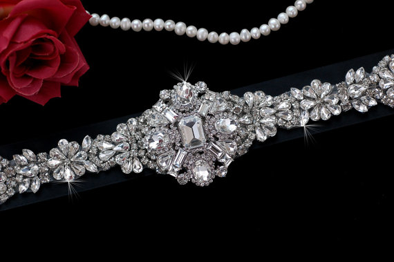 Mariage - Black Bridal Belt , Wedding Sash , Wedding Sash Belt , Bridal Sash Belt , Vintage Crystal Rhinestone Sash Belt , Bridal Belt