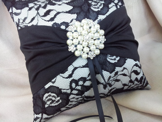Wedding - Black Ivory Ring Bearer Pillow Lace Ring Pillow Pearl Rhinestone Accent