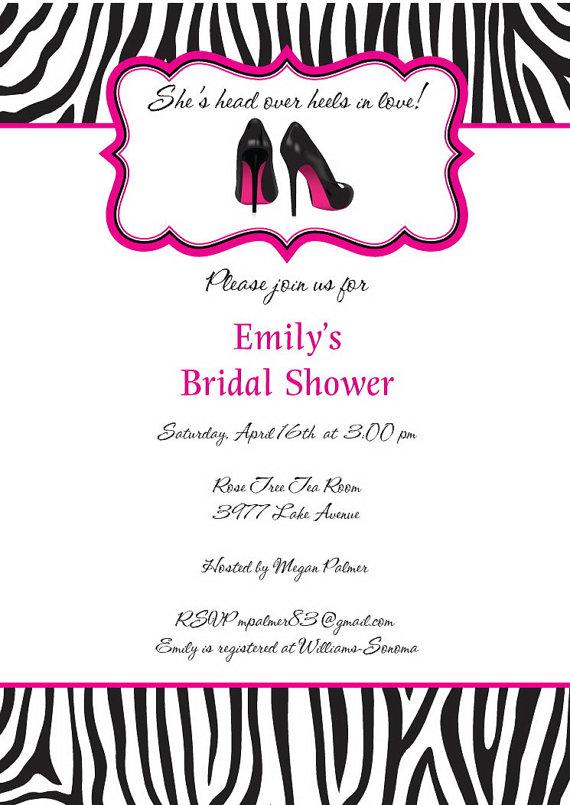 zebra bridal shower invitations stiletto shoes wedding shower invitation