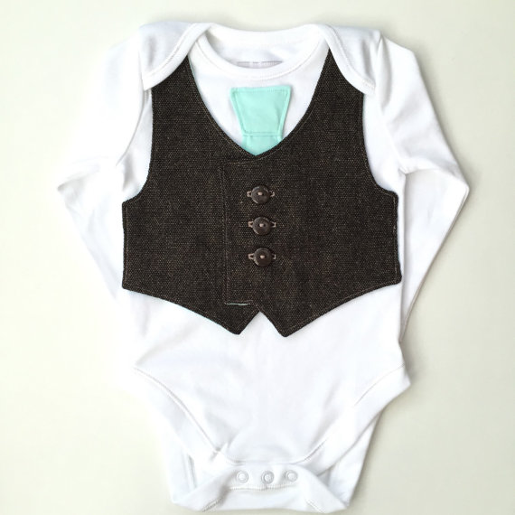 Wedding - Baby vest and tie, newborn boy clothes, baby boy clothing, spring wedding outfit, boys bodysuit with brown vest and mint green tie