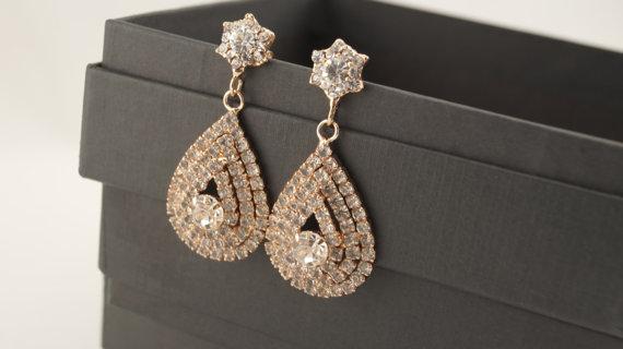 Bridal Earrings Rose Gold Pear Dangle EarringsWedding Earrings