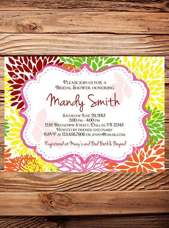 Wedding - Bridal shower Invitation,wedding shower Invitation,Floral Wedding Shower Invitation,Invite, green, digital, printable file - Item 1020