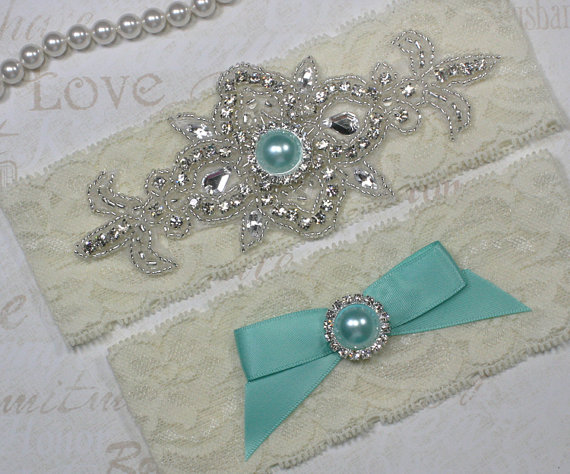 Свадьба - MADRID II - Tiffany Blue Wedding Garter Set, Lace Garter, Rhinestone Crystal Bridal Garters, Something Blue