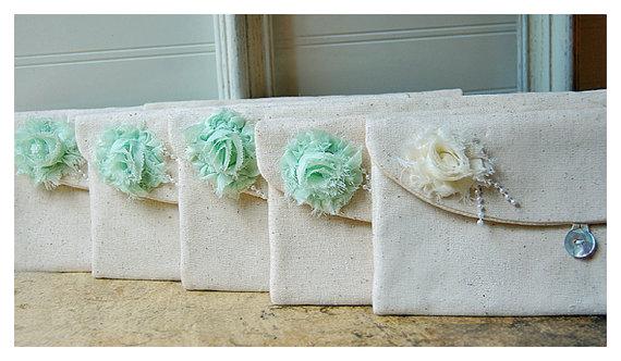 Bridesmaid Clutch Mint Pearls Purse, Raw Cotton Linen, Bridesmaids ...