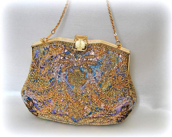 Nozze - French Flapper Bag Wedding Purse Handbag Peacock Clutch Art deco Evening Purse Vintage 1950s 1960s