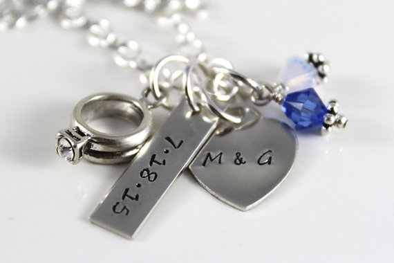 Wedding Date Necklace With Engagement Ring Charm Personalized Hand