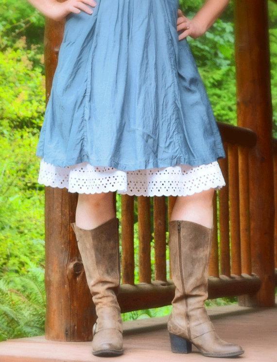 Свадьба - Organic Cotton White Slip Skirt Extender You Choose the Lace A-line Half Slip Petticoat Modest Made to Order Shabby Chic Eco Mori Girl