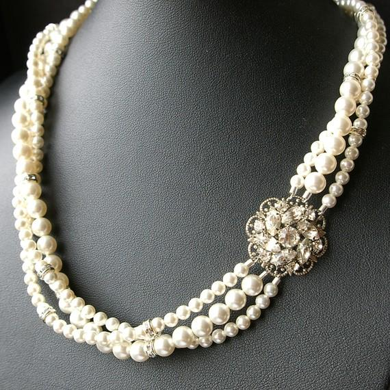 Mariage - Statement Bridal Necklace, Twisted Pearl Wedding Necklace, Vintage Bridal Jewelry, Pearl Wedding Jewelry, CELINE