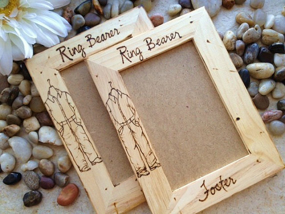 gift for ring bearers set of 2 custom frames personalized with ring bearers names jeans and button down shirt country rustic wedding