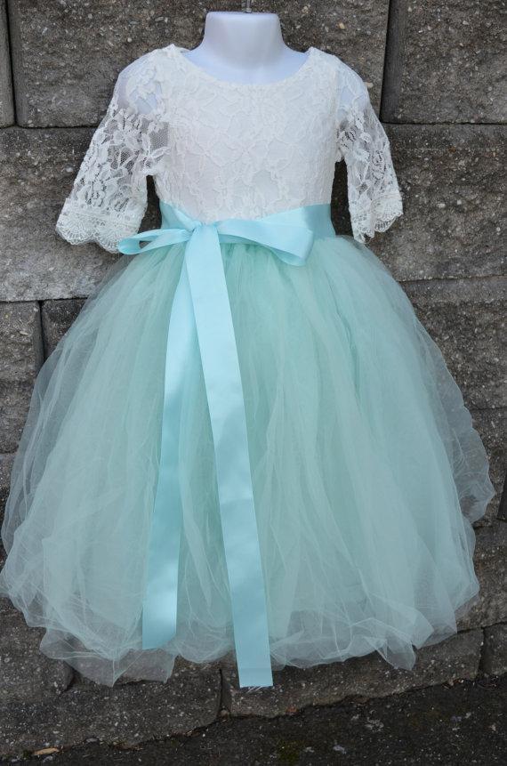 Wedding - Flower girl Tutu dress set , Girls Aqua Mint Long Tulle Skirt lace blouse, Aqua Tutu, Skirt blouse set , Girls Tutu, Flower girl dress, Aqua