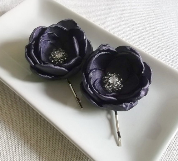 Wedding - Purple Eggplant Aubergine satin fabric flowers in handmade Bridal Hair shoe clip Bobby pin Bridesmaids Accessory Dress sash Ornament Brooch
