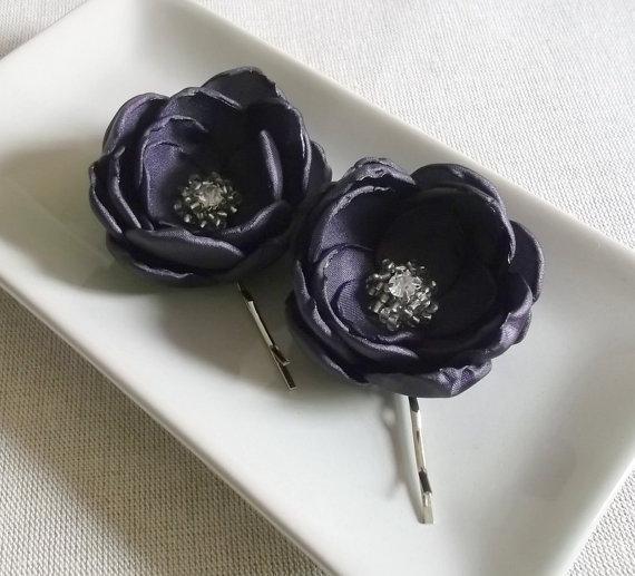 Свадьба - Purple Eggplant Aubergine satin fabric flowers in handmade Bridal Hair shoe clip Bobby pin Bridesmaids Accessory Dress sash Ornament Brooch