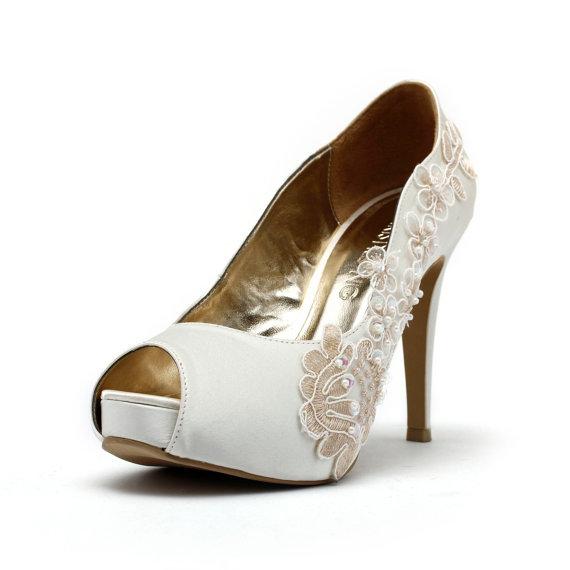 Mariage - Romance & More, Ivory White Wedding Shoes,Ivory White Bridal Heels,Ivory White Satin Beaded Lace Wedding Shoes, Ivory White Lace Bridal Heel