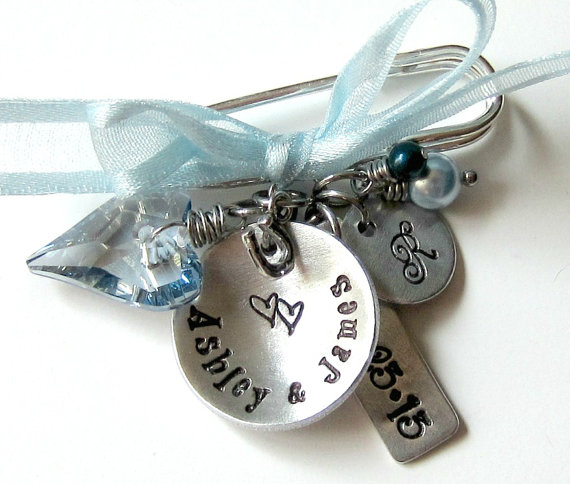 Wedding Gifts For Bride Something Blue : WeddingSomething Blue-Personalized Hand Stamped Bouquet Pin-Wedding ...