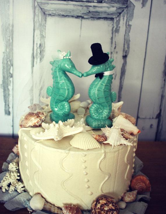 Seahorse Wedding Cake Topper-aqua Blue Seahorse Cake Topper-Kissing ...