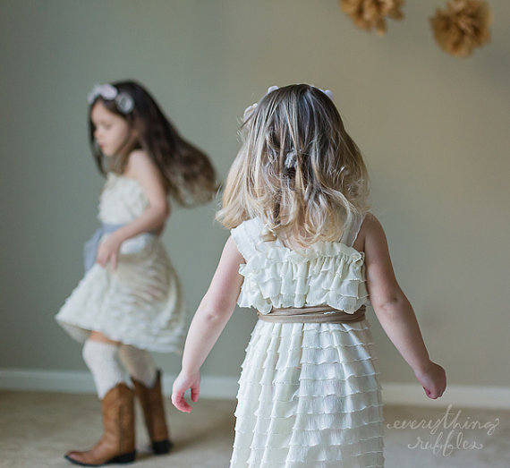 Свадьба - Ivory Ruffle Flower Girl Dress with Toffee Sash by Everything Ruffles - Wide Straps/Cap Sleeves, 1 Inch Ruffles