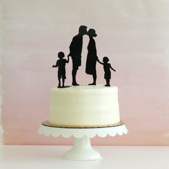 Custom Silhouette Wedding Cake Topper With 2 Children