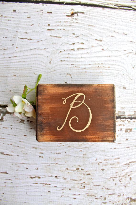 Wedding - Burlap Rustic Ring Bearer Pillow Box - Rustic Weddings - (RB-12)