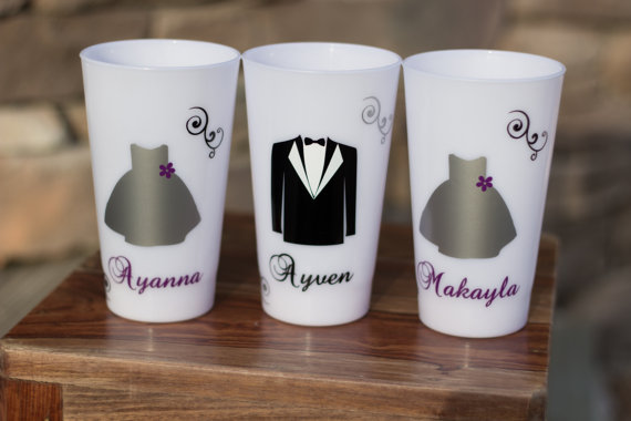 Свадьба - Flower girl gift, junior bridesmaid or ring bearer, LED light up tumbler, Personalized dress and tux glasses