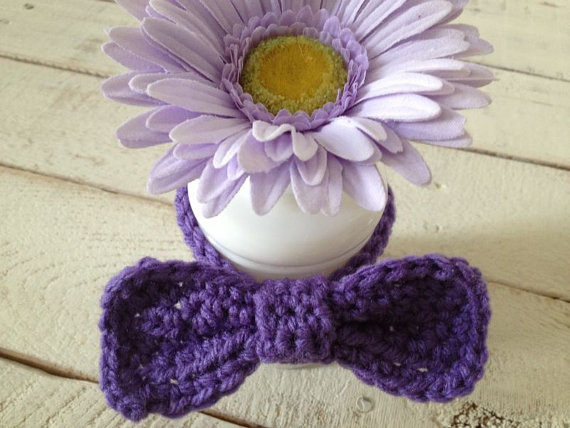 Свадьба - Rich Purple Crochet Kitty Bowtie - Photo Prop - Dress Up - Will You marry Me
